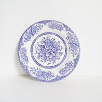 Vintage English Ironstone Plate Blue White Floral Housewares Collectible Home Decor