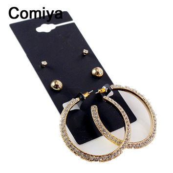 Comiya brand gold plated stud earring rhinestone fashion jewelry brinco boucle d'oreille femme cc statement earrings brincos