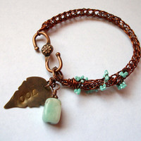 Viking Knit Metal-Work Bracelet in Copper with Blue Beadwoven and Stone Accents