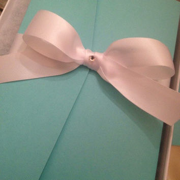 50 sets - Tiffany and Co. Style Wedding Invitation with White Satin Bow and Swarovski Crystal center (Colors can be customized)