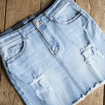 Distressed Denim Skirt, Light