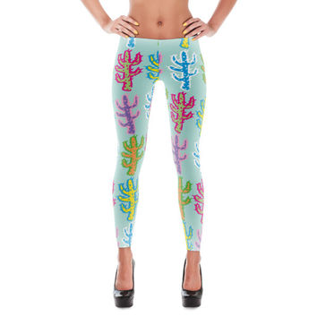 Cactus Bright Leggings | The Inked Elephant