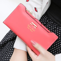 Bow Tie Long Leather Wallet for Women