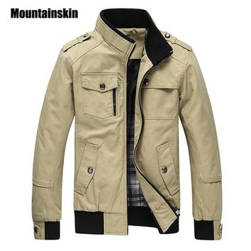 Mountainskin Casual Men's Jacket Spring Army Military Jacket Men Coats Winter Male Outerwear Overcoat Khaki 5XL EDA085