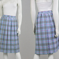 Vintage 90s Pastel Blue Tartan Skirt Plaid Skirt Checked Skirt Midi Skirt Box Pleat XL Skirt Plus Size Skirt Grunge Skirt Womens Kilt 1990s