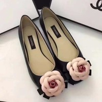 CHANEL Flower Women Fashion Leather Flats Shoes