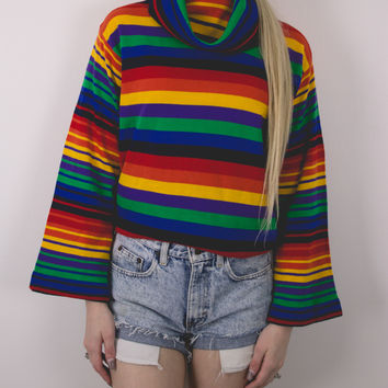 Vintage 70s Rainbow Striped Knit Thin Sweater