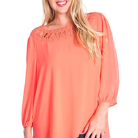 Plus Size Braided Boat Neck Tunic Top