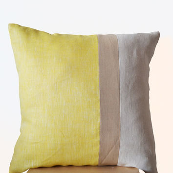 Yellow Pillow -Large Throw Pillows color block -Euro Shams - Decorative cushion cover- Big Throw pillow - gift- 24x24- Yellow Linen Pillows