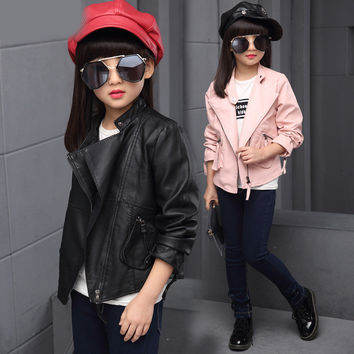 Girls Clothing Autumn Winter Teenagers Girls Clothes Faux Leather Jacket PU Outerwear Coats Kids Girls Jacket Children Clothing