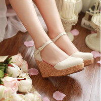 High Quality Heeled Platform And Wedges Various Hasp Wedge Single Mary Jane Shoes Soft Leather Graceful Lady Closed Round Toe