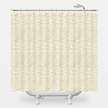 Gold Stripes Shower Curtain