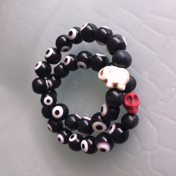 Evil Eye Bracelet with Elephant Handmade Bohemian Jewelry Stretch Bracelet Black Greek Eye Beads Bone Elephant Stackable Boho Bracelets