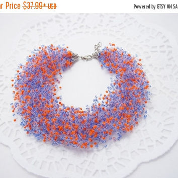 SALE Orange blue necklace Air necklace multistrand necklace bib necklace beadwork  gift idea cobalt blue bright orange gift for her