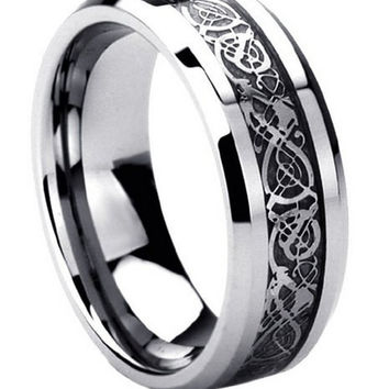 Mens Titanium Wedding Band With Black Celtic Inaly