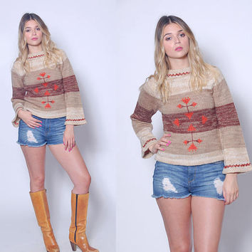Vintage 70s Hippie Sweater FOLK Sweater Bell Sleeve Sweater SPACE DYE Boho Pull Over Sweater