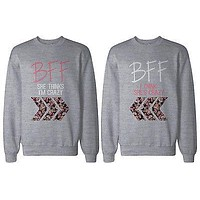 Crazy BFF Floral Print Grey Sweatshirts for Best Friends Matching Sweater