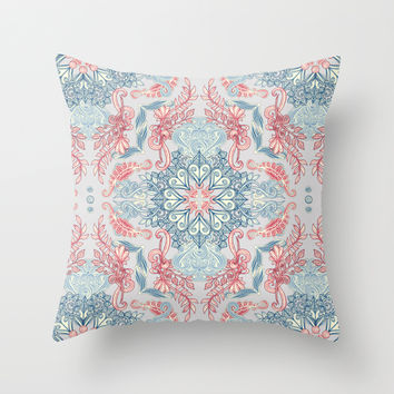Vintage Fancy - a Pattern in Pale Blue, Navy & Deep Rose Throw Pillow by Micklyn