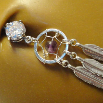 Amethyst Dream Catcher Belly Button Ring