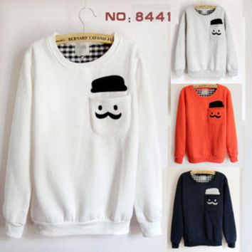 ONETOW Moustache Patch Pocket Embroidery Loose Fit Sweater For Women