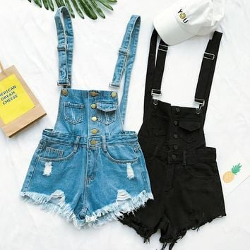 Hot Vogue Women Clothing Denim Playsuits Cotton Strap Rompers Shorts Loose Casual Overalls Shorts Rompers Female Playsuits