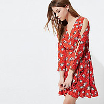 Red floral print frill wrap dress - swing dresses - dresses - women