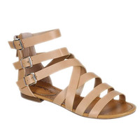 Strappy Gladiator Buckle Open Toe Women Summer Sandals Shoe Natural Color
