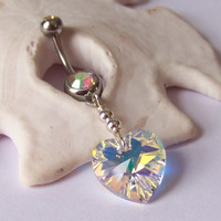 Body Jewelry - Belly Button Ring - Body Piercing - Sterling Silver Wrapped AURORA BOREALIS Heart Swarovski Xilion Crystal