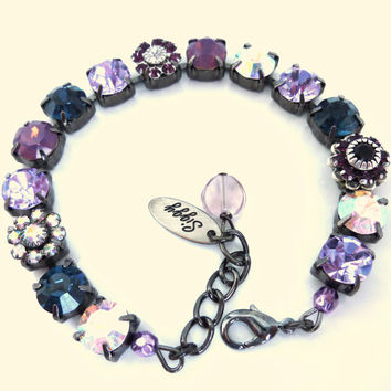 Swarovski crystal tennis bracelet, violets and opals, 8mm crystals, better than sabika