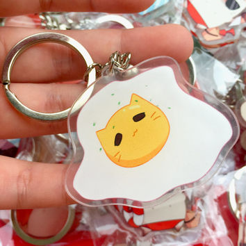 Cute Egg Neko Cat Double-Sided Acrylic Charm w/ Key ring or Phone strap