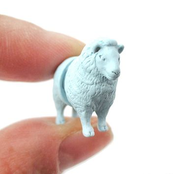 3D Realistic Sheep Shaped Two Part Front Back Stud Earrings in Blue | DOTOLY