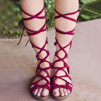 2017 summer girls cross strap sandals high gladiator sandals tall sandals for women Lace Up boot sandals shoes 3 colors