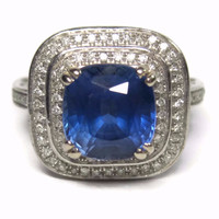 14K 3 Carat Cushion Cut Sapphire and Diamond Ring Size 6 High Setting