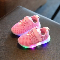 New Fashion Children Shoes With Light Led Kids Shoes Luminous Glowing Sneakers Baby Toddler Boys Girls Shoes LED EU 21-25