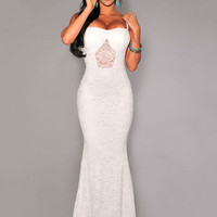 White Spaghetti Strap Mid Cut-Out Floral Lace Maxi Dress