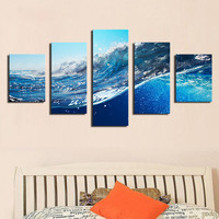 2016 Sale Paintings Cuadros Decoracion Fallout 5 Pcs Ocean Wave Sea Sky Painting Printed On Canvas for Home Decor Wall No Frame