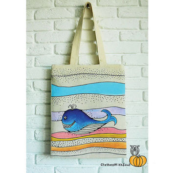White Summer Tote bags Whale on The Waves Designer handbags Hand Painted Women handbags Canvas tote bag Eco Bag Beach accessories Gift Bag