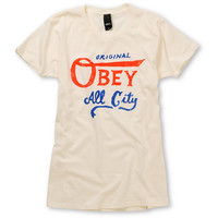 Obey Girls All City Original Ivory White Tee Shirt at Zumiez : PDP