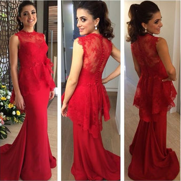 High Neck Prom Dresses,Sleeveless Red Prom Dress,Evening Dresses