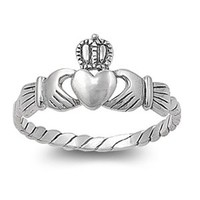 Sterling Silver 9mm Claddagh Heart Ring (Size 3 - 10)