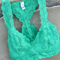 LACE BRALETTE TOP - JADE