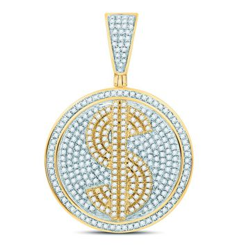 10kt Yellow Gold Mens Round Diamond Dollar Sign Circle Charm Pendant 1.00 Cttw