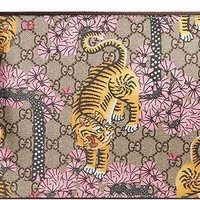 ESBON3F Gucci GG Bengal Blossoms Pink Tiger Pouch Box Authentic Leather Wrist Zip Strap Italy New