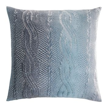 Dusk Cable Knit Velvet Pillow by Kevin O'Brien Studio