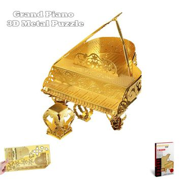 "PieceCool Metallic Nano Puzzle of ""Grand Piano"" Musical Instrument 3D Metal Model from Laser Cut Metal Sheests Romantic Gifts"