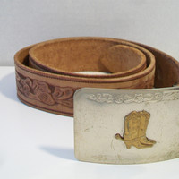 Alco Tooled Leather Belt Cowboy Cowgirl Country Western Boots Spurs Buckle Unisex Fashion Accessories