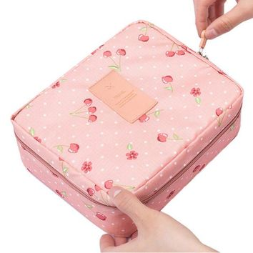 DCCKHG7 Neceser Rushed Floral Nylon Zipper New Women Makeup bag Cosmetic bag Case Make Up Organizer Toiletry Storage Travel Wash pouch