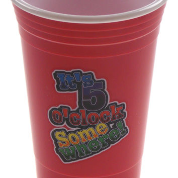 Spoontiques It's 5 O'Clock Somewhere Booze Party Cup 16 Oz Large Red Gag Gift