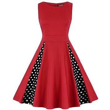 Retro Inspired Red & Black Swing Dress, Sizes Small - 3XLarge