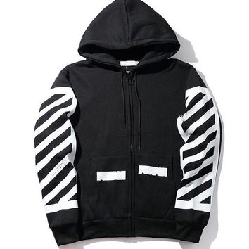 LMFGZ9 OFF WHITE Hoodies Winter Stripes Hats Jacket [11501027724]
